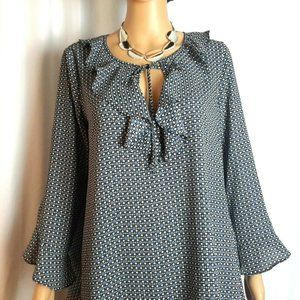 NWT/Max Studio Ruffle Bell Sleeve Blouse Size  S